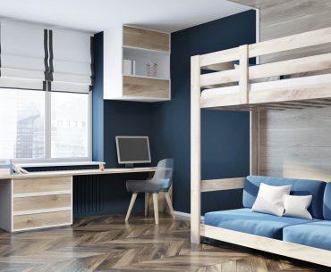 Dark blue wall home office, blue loft bed